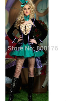 Bezmaksas piegāde Dāmas Mad Hatter Fancy Dress Up Tēja Puse Alice In Wonderland Vistu sexy Kostīmi plus izmērs S-3XL